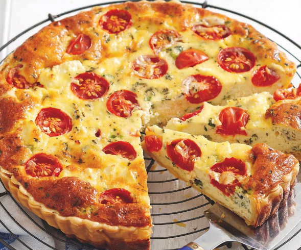 """Fresh and light, this **[feta and tomato quiche](https://www.womensweeklyfood.com.au/recipes/tomato-and-feta-quiche-28321
