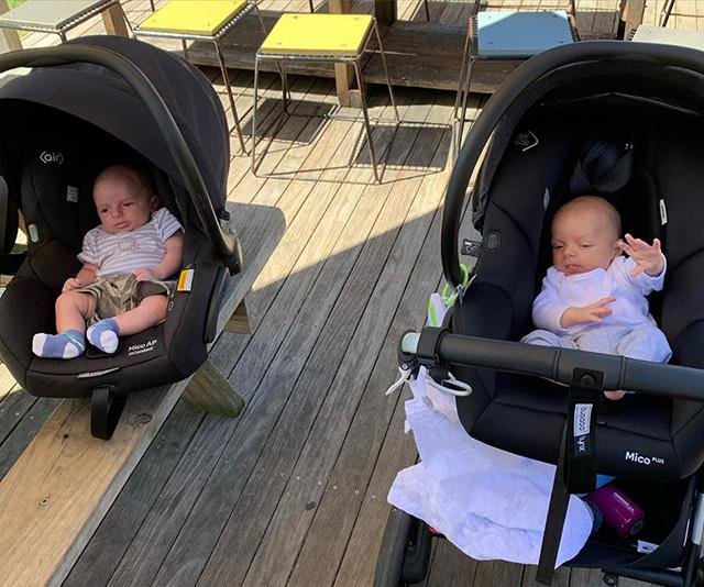 "Sylvia captioned this photo of her and Jayne's sweet bubs: ""Joey and Oscar's first park date 🌳💙 No hugs, no worries. We still felt the love from 1.5m away. @jayneazzo xx"". Too cute!"