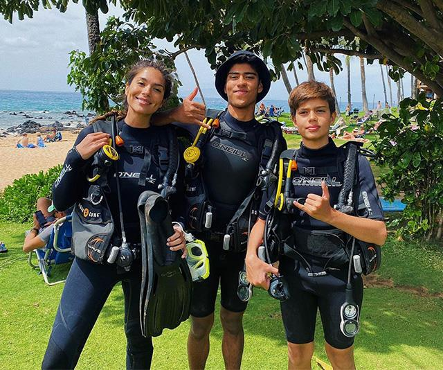 Pia pictured during a recent holiday with her sons Isaiah (centre) and Lennoz (right).