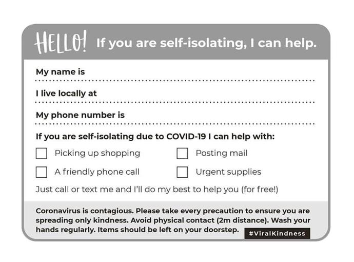 These name tags have been circulating on social media, inviting residents to fill them out and post to neighbours who might be in need of a helping hand, or just someone to talk to.