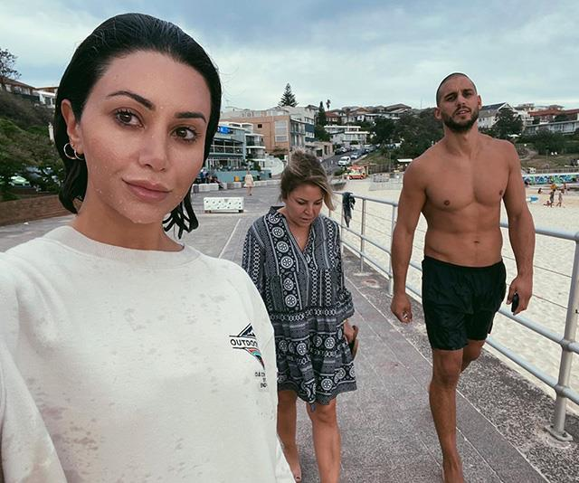 "Martha, Mary and Michael taking a stroll along Sydney's Bondi Beach, where the *MAFS* couple have [recently shacked up together](https://www.nowtolove.com.au/celebrity/celeb-news/martha-kalifatidis-michael-brunelli-59996|target=""_blank"")."