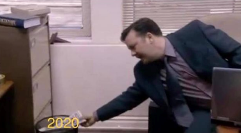David Brent of *The Office* demonstrates exactly how this year is going...