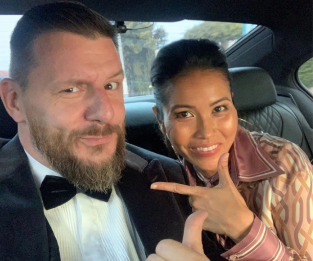 Manu and wife Clarissa on the way to the AACTA Awards.