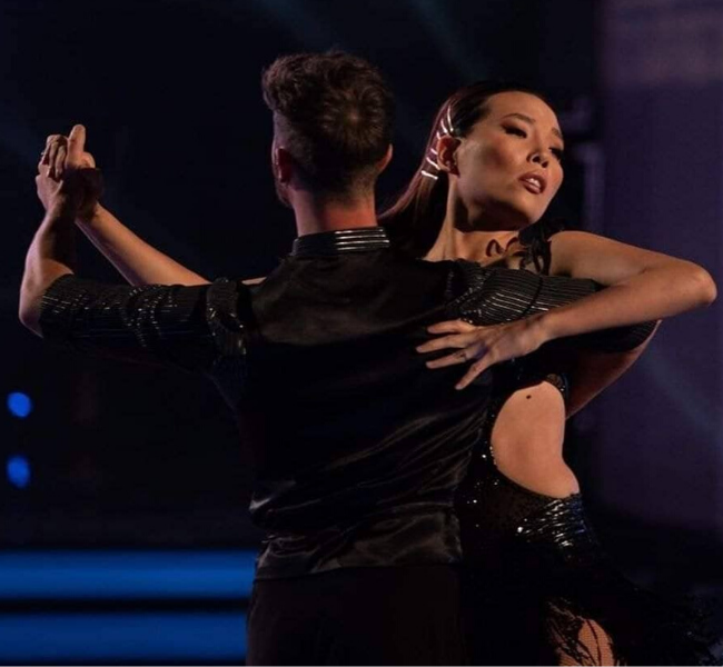 Dami with her dance partner Shane performing one of their final routines.