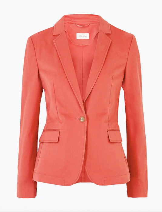 "Marks & Spencer cotton single breasted blazer, $145. [Buy it online here](https://www.marksandspencer.com/au/cotton-single-breasted-blazer/p/P60441524.html|target=""_blank""