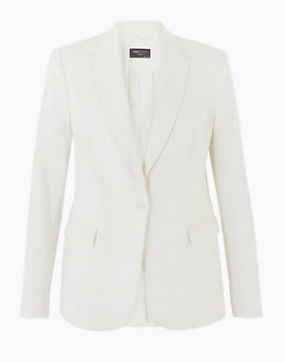 "Marks & Spencer linen blend single breasted blazer, $129. [Buy it online here](https://www.marksandspencer.com/au/linen-blend-single-breasted-blazer/p/P60438906.html|target=""_blank""