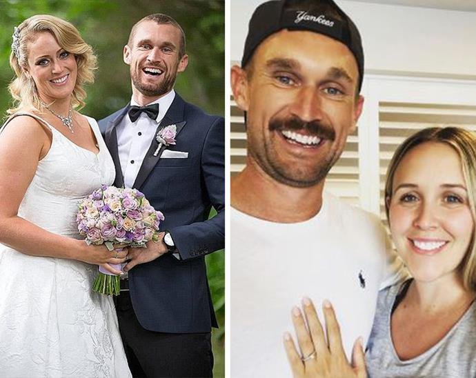 Jono was matched with Clare Verral on season two of *MAFS* (L) but has since found true love with fiancée Bec (R).