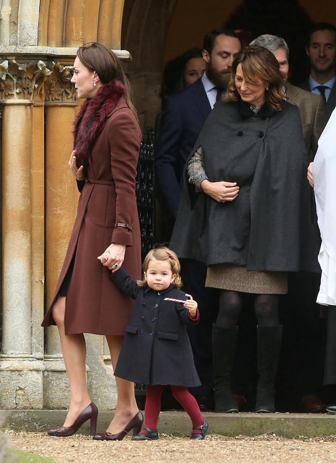 Carole Middleton is always there to lend a hand to her daughter when it comes to grandmother duties, like when she kept an eye on Princess Charlotte at the Christmas service in 2016.