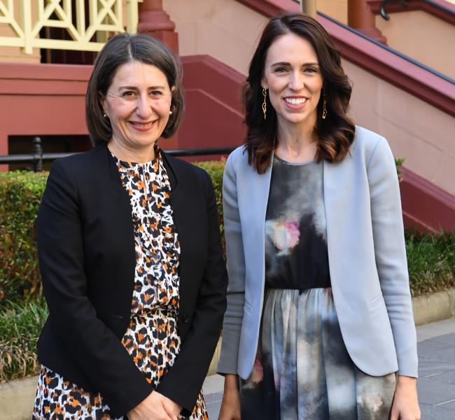 Ms Berejiklian with New Zealand's PM Jacinda Ardern.