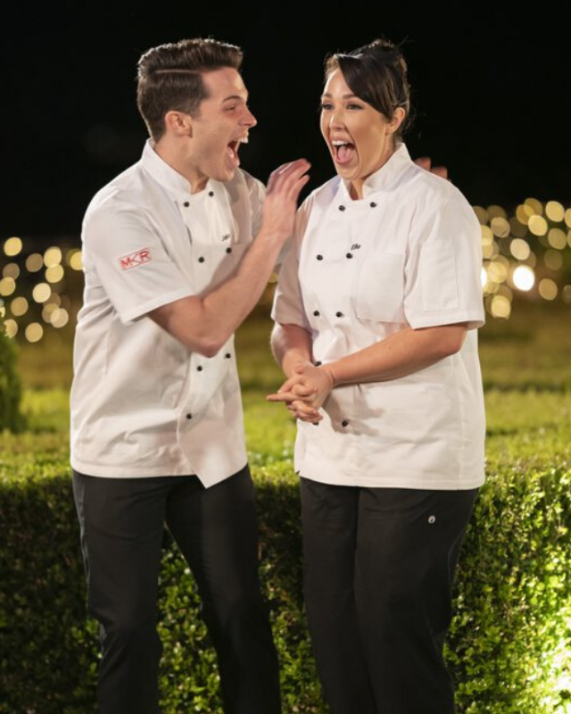Jake and Elle celebrate after being crowned the winners of *MKR* for 2020.