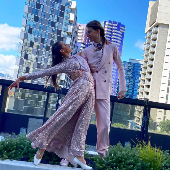 Christian Wilkins and his dance partner Lily performed their routine on the rooftop of the hotel where they were self-isolating.