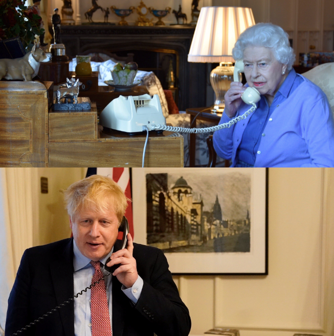 The Queen was pictured speaking to Boris Johnson on Wednesday evening.