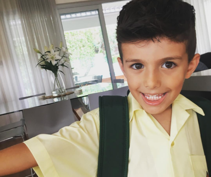 Growing up too fast! Ada shared this snap of Johnas on his first day of school.