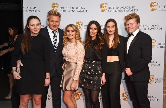 Gordon with wife Tana (centre-right) and their kids (L-R) Megan, Matilda, Holly and Jack.