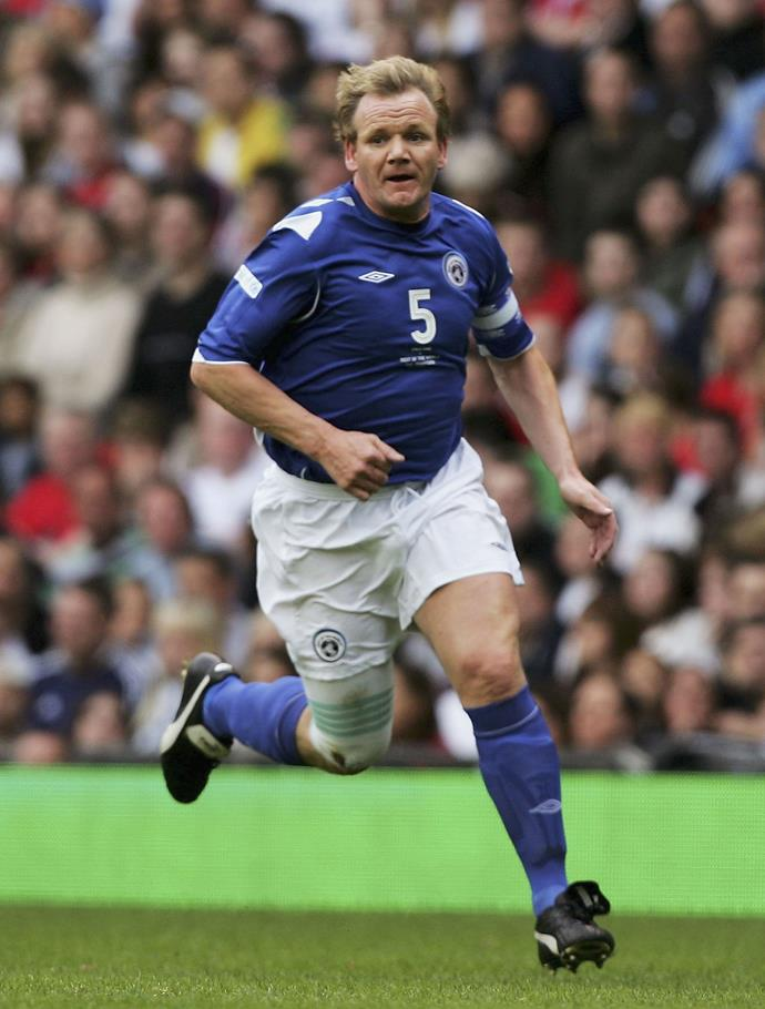 Gordon is an avid footballer, and takes part in charity games, like this one in 2007.