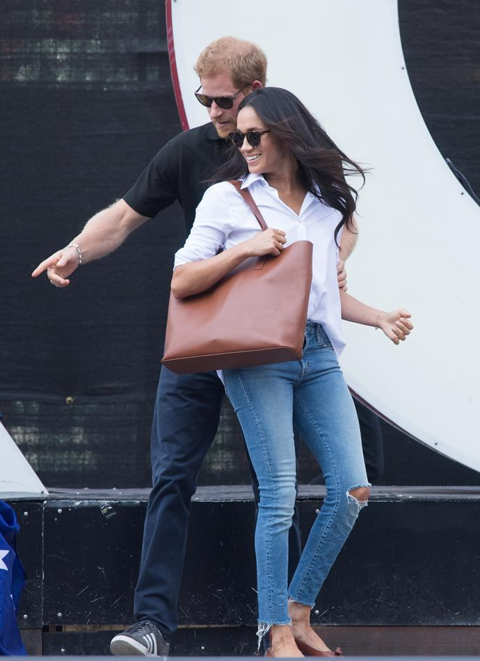 Let's start right back at the very beginning -  September 2017 when Prince Harry and the soon-to-be Duchess Meghan stepped out in public or the very first time as a couple at the Invictus Games, held in Canada. Meghan's chic Misha Nonoo shirt and Mother jeans were a sign of good things to come on the fashion front.