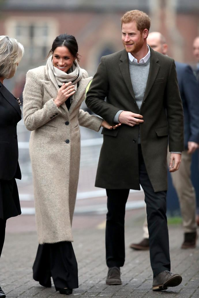 In January 2018, Meghan and Harry made one of their first official joint appearances on the job, visiting the Reprezent training programme in London on January 9. Meghan's cosy oat-coloured coat, designed by Smythe Brando was one of many in her heavenly winter collection.