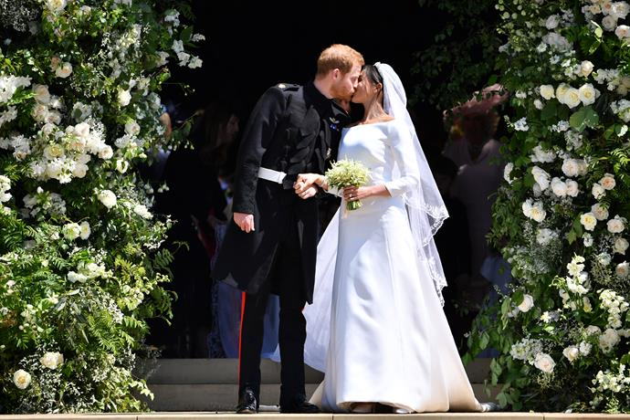 "In the ultimate fairytale moment, the pair [married at St George's Chapel, Windsor](https://www.nowtolove.com.au/lifestyle/weddings/prince-harry-meghan-markle-royal-wedding-details-56505|target=""_blank"") in May 2018. Meghan's boat-neck Clare Waight Keller for Givenchy design also set the precedent for wedding dress trends in the months - and years! - that followed."