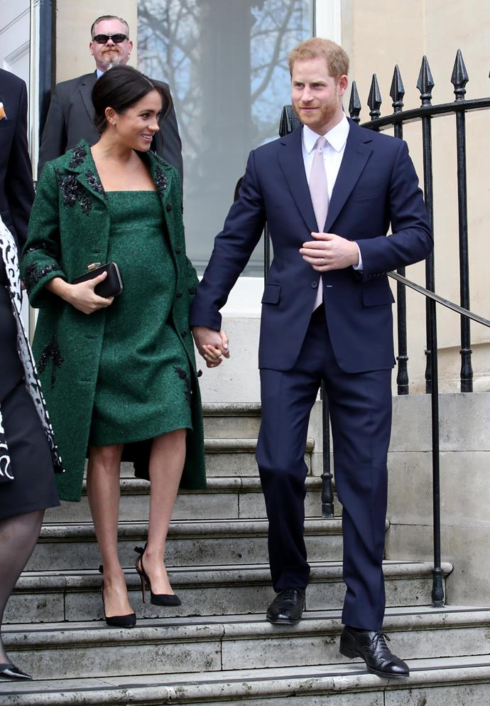 In one of her final appearances before giving birth, Meghan was radiant in a regal green Dior ensemble as she and Harry visited Canada House on Commonwealth day, March 2019. It marked one of the last times we saw the royal couple together before they became parents.
