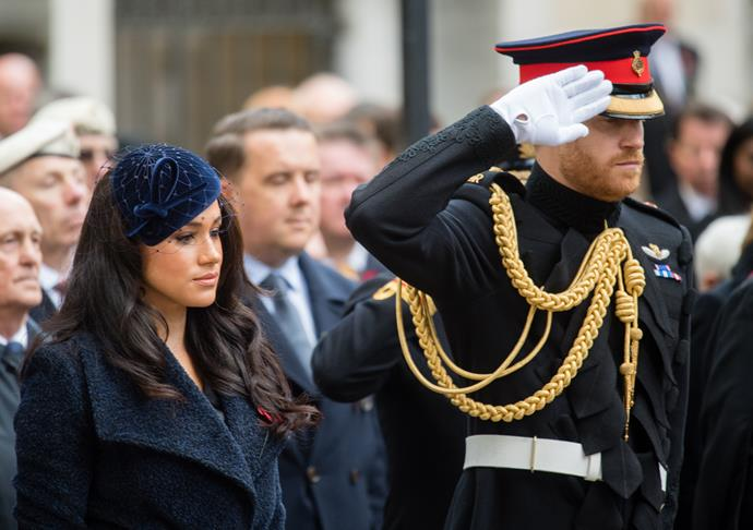 "In November, the pair attended [a Remembrance Day ceremony at Westminster Abbey](https://www.nowtolove.com.au/royals/british-royal-family/meghan-markle-teddy-coat-60178|target=""_blank"") - one of their final appearances of the year before they travelled to Canada to spend a low-key Christmas with their son Archie."
