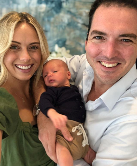 """Three years since we laughed our way through our vows and two months since our handsome baby boy arrived."" The couple celebrated their third anniversary with baby Oscar, and revealed the first pic of the gorgeous family of three."