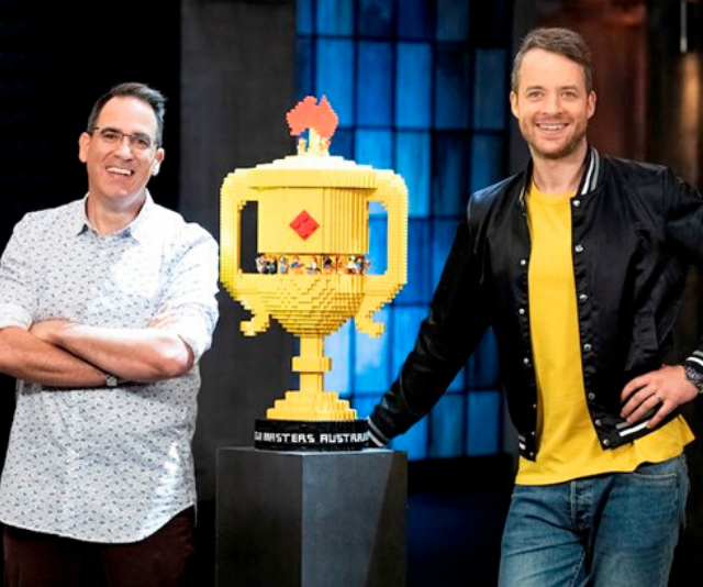 "Host Hamish Blake (right) and judge Ryan ""The Brickman"" McNaught."