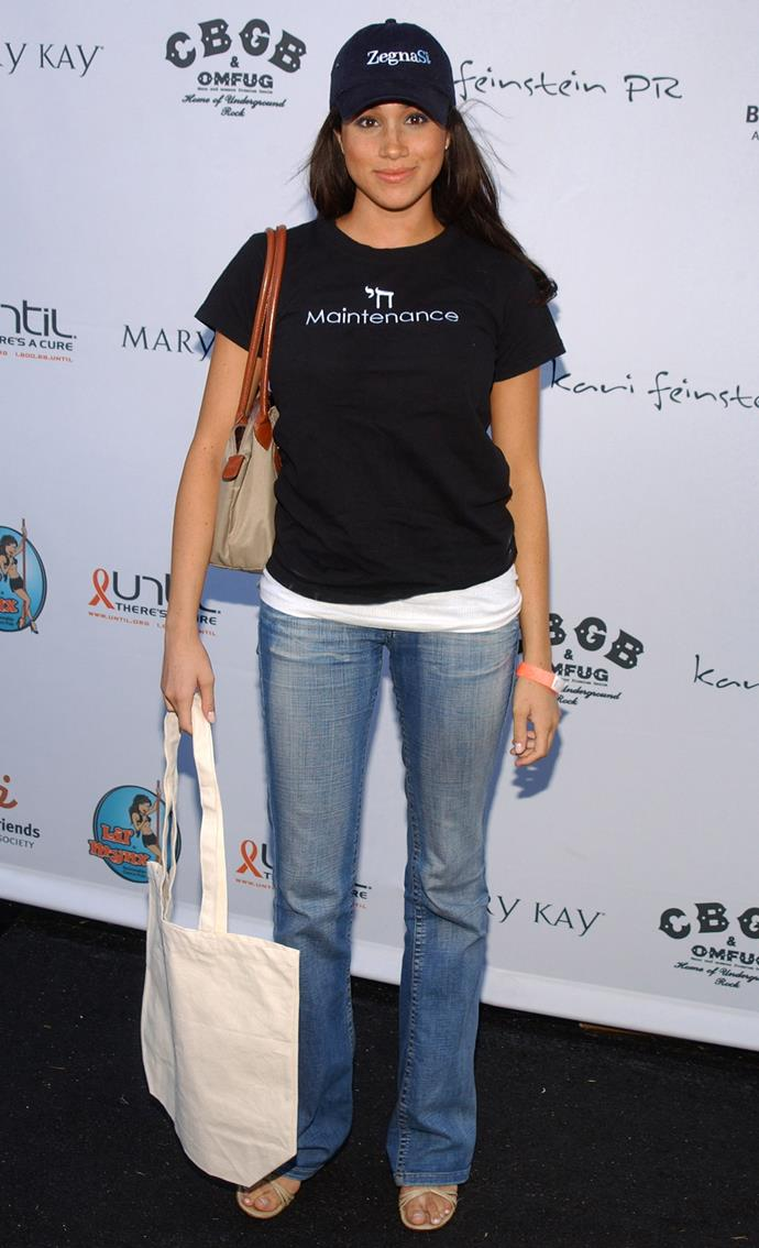 Duchess Meghan still loves her jeans and baseball caps, but somehow, we can't picture her wearing something like this today.