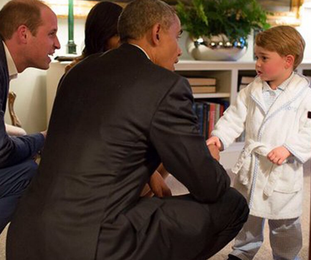 "The ""royal touch"" Jayne referred to was this iconic moment, when little Prince George met former US President Barack Obama in his robe, when Obama and his wife Michelle met with the Cambridges in 2016."
