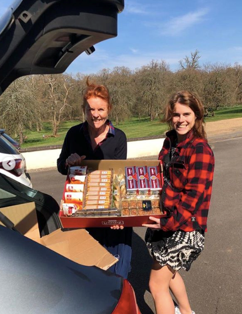 Sarah Ferguson and Princess Eugenie have been helping workers on the frontline by delivering them food and other essentials during the crisis.