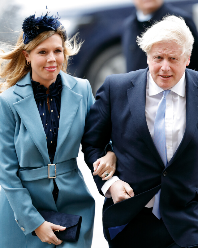 Carrie Symonds and Boris Johnson pictured arriving together to the Commonwealth Day celebrations in March 2020.