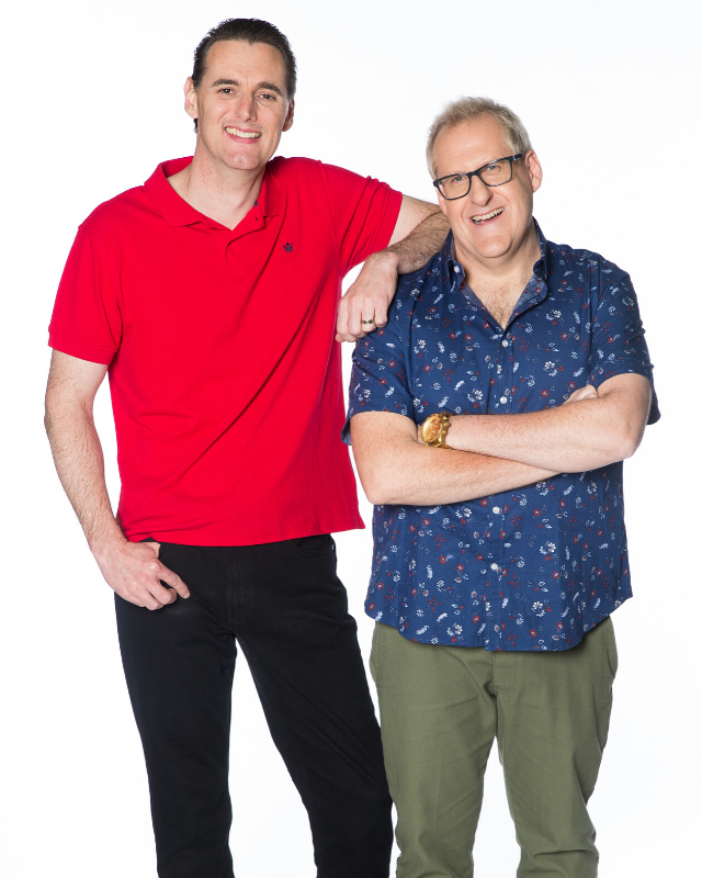 **ANDREW AND DAMIAN**  <br><br> These two best friends describe themselves as big kids, but they're super serious about this competition and are absolutely in it to win it.  <br><br> Andrew, a music teacher, was diagnosed with cancer at age nine, and required more than two years of treatment, before he went into remission. Now he shares his love of Lego with his wife and children, who were all adopted from Taiwan and are now Australian citizens.