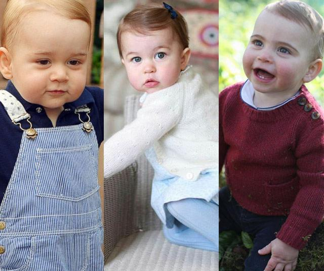 Which heir's hair? (L-R) Prince George, Princess Charlotte and Prince Louis all pictured on their first birthdays.