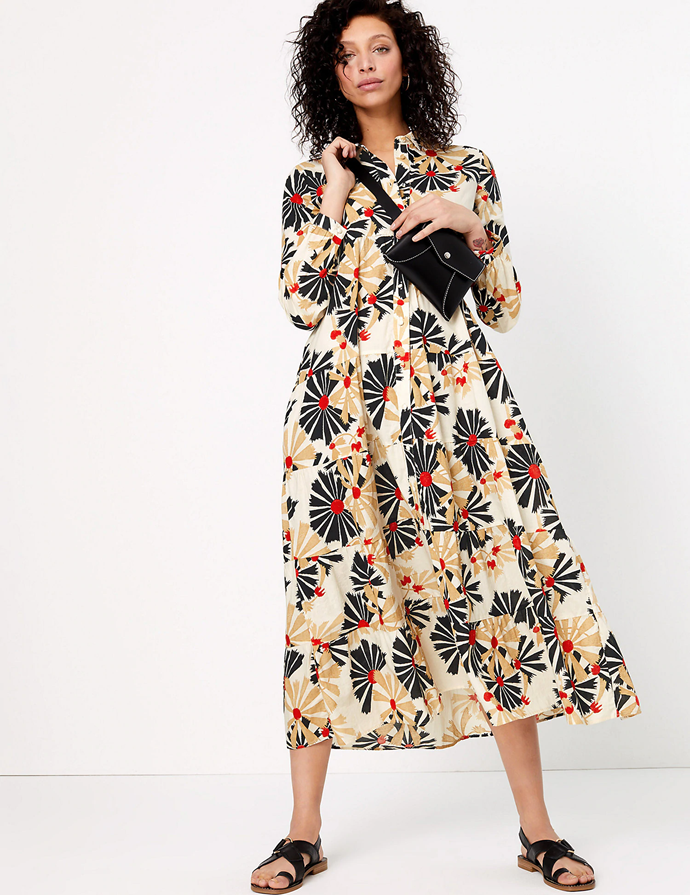 "**Marks and Spencer dress, $97.50**  This bright print is the perfect pick-me-up when working from home! Wear as is, or wear it open as a lightweight coat.  [See M&S's range here.](https://www.marksandspencer.com/au/pure-cotton-printed-maxi-shirt-dress/p/P60442220.html|target=""_blank"")"