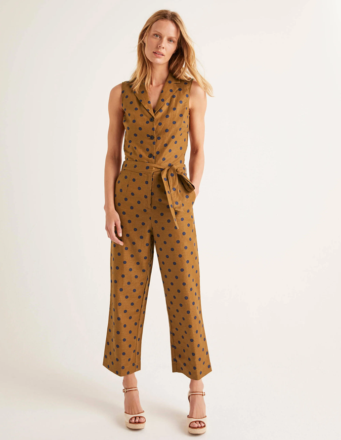 "**Boden jumpsuit, $200**  What is easier than a jumpsuit? One item you can just throw on, but looks like you made an effort. Pop on a long sleeve top underneath as the weather gets cooler.  [View Boden's website here.](https://www.bodenclothing.com.au/en-au/evie-collar-jumpsuit-gingerbread-linear-brand-spot/sty-t0558-lbr?cat=C1_S2_G1109|target=""_blank"")"