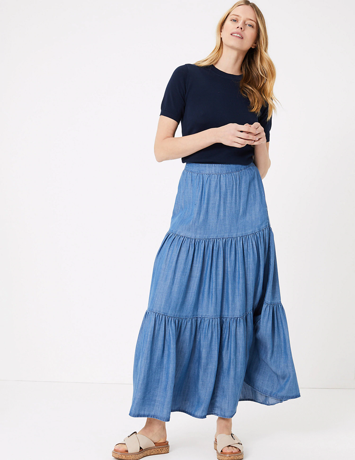 "**Marks and Spencer skirt, $75**  Create a dreamy summer vibe without ever leaving home. Enter this soft blue Maxi skirt.   [Head to M&S here.](https://www.marksandspencer.com/au/pure-tencel%E2%84%A2-tiered-pleated-maxi-skirt/p/P60443743.html|target=""_blank"")"