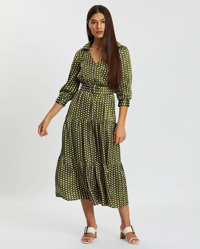 "**Atmos & Here dress via The Iconic, $79.99**  This pop of colour and print will keep your home office peppy!   [See it online here.](https://www.theiconic.com.au/josie-polka-midi-dress-993413.html|target=""_blank"")"