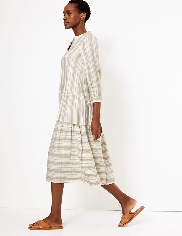 "**Marks and Spencer dress, $97.50**  This dress is more understated and relaxed - perfect for those days where you just want to lay about.  [Check it out here.](https://www.marksandspencer.com/au/striped-v-neck-tiered-midi-relaxed-dress/p/P60444006.html|target=""_blank"")"