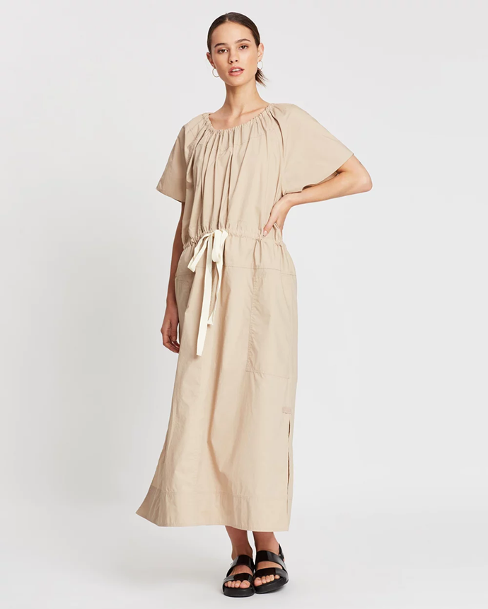 "**Lee Mathews dress via The Iconic, $399**  Drawstring waistline… need we go further?   [See it online here.](https://www.theiconic.com.au/workroom-tee-dress-921668.html|target=""_blank"")"