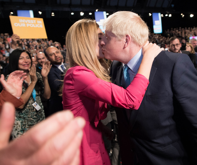 Ms Symonds congratulated the PM following his keynote speech at the Conservative Party Conference in October 2019.