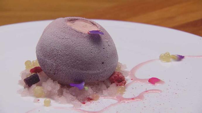 He may have forgotten the rice crispies but Cassis Plum dessert was a show-stopper.