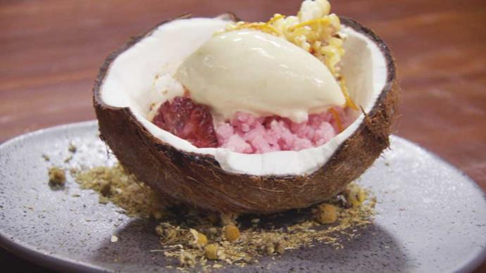 Blood orange granita, salted caramelised popcorn, toasted coconut shavings and chamomile ice cream. What's not to love?