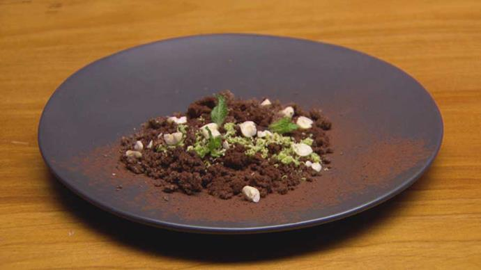 Now that's a fancy one: chocolate, hazelnut, coffee and vanilla cremeux with mousse isn't something you see every day.