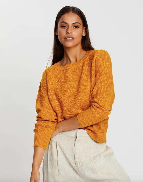 """ONLY Jemma LS Cable Pullover Knit, $54.95. [Buy it online via The Iconic here](https://www.theiconic.com.au/jemma-ls-cable-pullover-knit-1074984.html