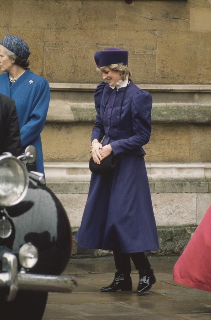 Ever the timeless fashion icon, Princess Diana set the precedent for Easter fashion in 1986 when she was pictured in this Victorian-esque navy ensemble with a matching pill box hat.