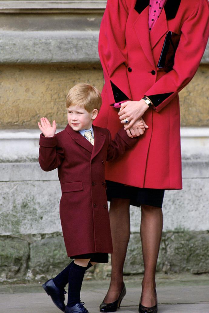 In 1989, shades of red were the new black - a young Prince Harry and mum Diana were case in point.