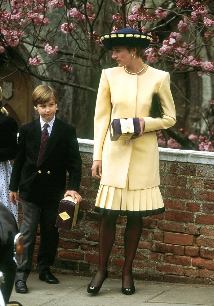 In 1992, Diana opted for a bright buttercup yellow look complete with a pleated skirt - topped off with some chocolate Easter eggs she and Wills were gifted as a treat!