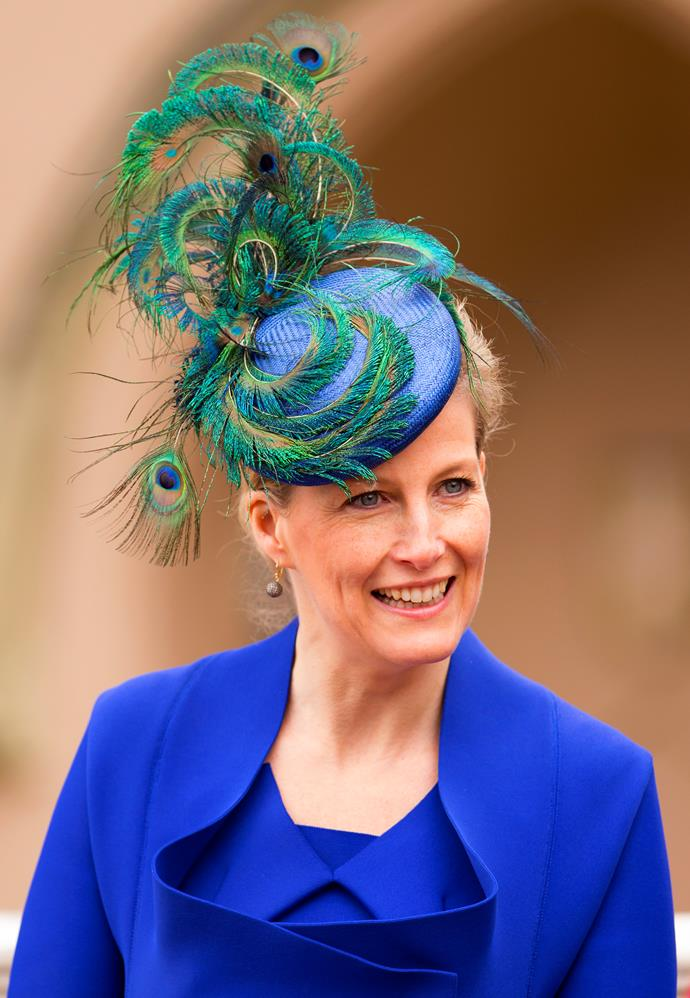 A hat to remember! Sophie of Wessex has been a style influencer in her own right since way back - and she's certainly not afraid to take a fashion risk. She opted for this peacock-inspired look in 2013 as she attended the Easter Sunday service.