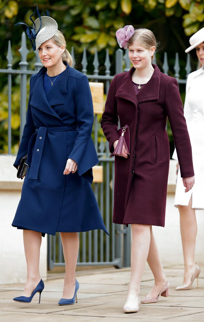 Like mother, like daughter - Lady Louise Windsor dressed up alongside her mother Sophie for the annual event. Their autumnal outfit shades made for the perfect combo.