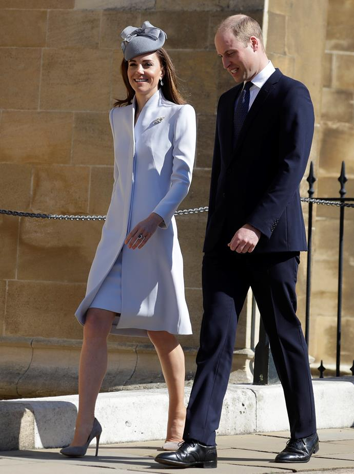 In 2019, Catherine wore one of her greatest (and chicest) looks to date in this sleek Alexander McQueen ensemble. We don't blame Wills for looking a bit smitten!