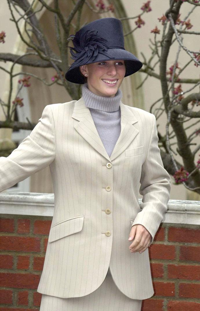 "In 2001, Zara made a case for the pinstripe suit in cream. The then-teenager was well en route to becoming [a low-key royal fashion icon](https://www.nowtolove.com.au/royals/british-royal-family/zara-tindall-good-morning-britain-63379|target=""_blank"")."
